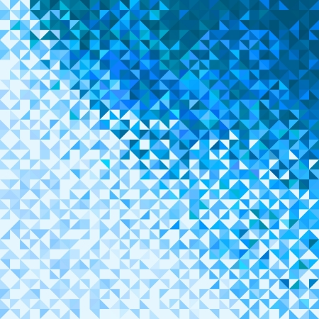 Abstract Lights Blue White Winter Sky or Snow Background. Pixel mosaic vector Vettoriali