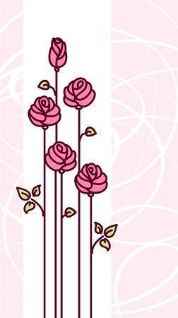 rose silhouette: Greeting Card with Cute Pink Stylized Roses and Abstract Light Background. Vector Illustration