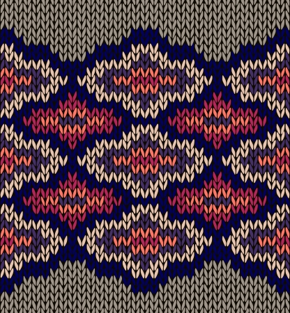 craft ornament: Knit Woolen Seamless Jacquard Ornament Texture. Fabric Color Background