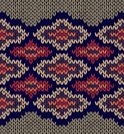 textura lana: Tejido de lana Jacquard Seamless Texture Ornament. Tela Color de fondo Vectores