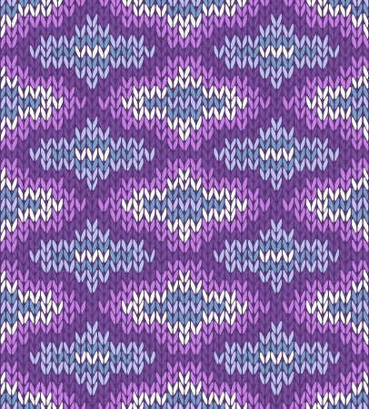 fancywork: Seamless Pink White Violet Blue Color Style Knitted Ornament Illustration