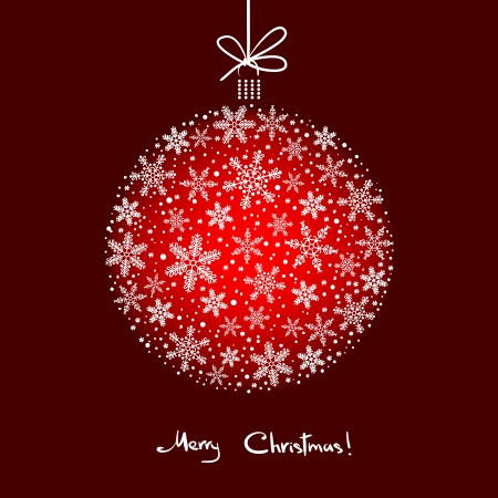 Fondo de la Navidad con la bola de los copos de nieve blanca