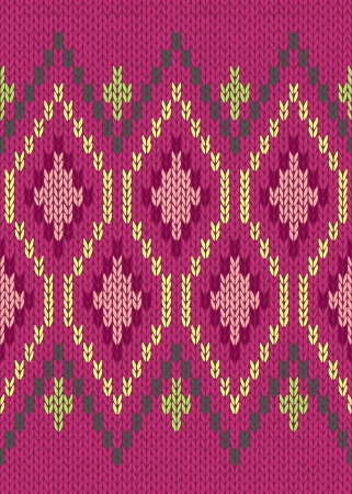 knitted fabrics: Style Seamless Knitted Pattern. Jacquard Ornament Texture. Red Green Pink Yellow Color Illustration from my large Collection of Samples of Knitted Fabrics  Illustration