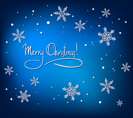 Christmas Abstract Card with White Snowflakes on Blue Background. Simple Vector Design Stock Vector - 16913024