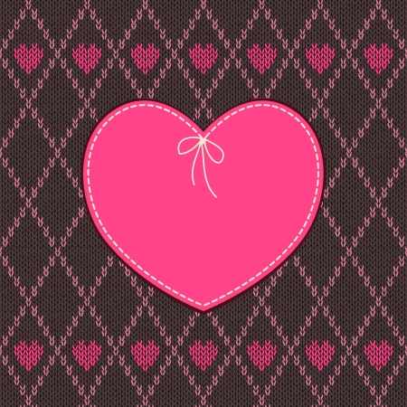 Vintage Heart Shape Design with Knitted Pattern