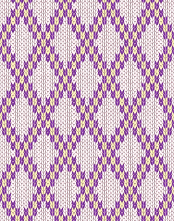 woolen: Knit woolen seamless jacquard ornament texture. Fabric color tracery background  Illustration