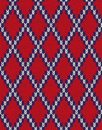 woolen: Knit woolen seamless jacquard ornament texture. Fabric Red White Blue color tracery background