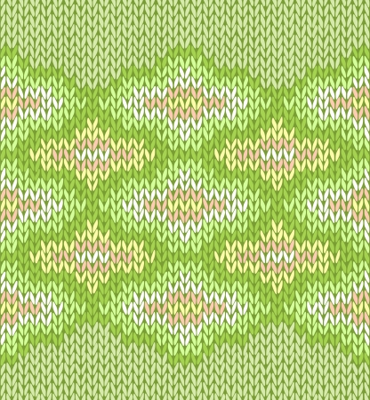 Style seamless green color knitted pattern Vector