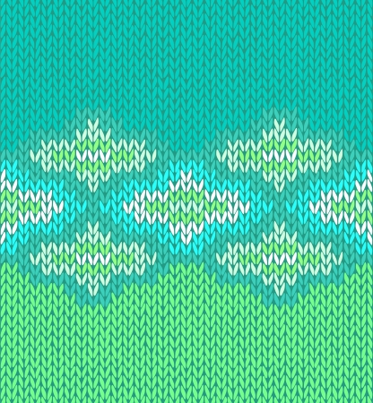 wool texture: Style seamless green blue white color knitted pattern Illustration