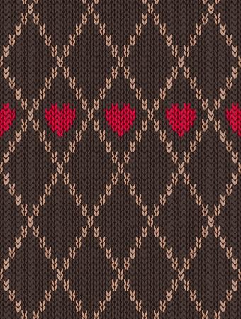 sem costura: Padrão Seamless Estilo Red Brown Cor de malha com coração