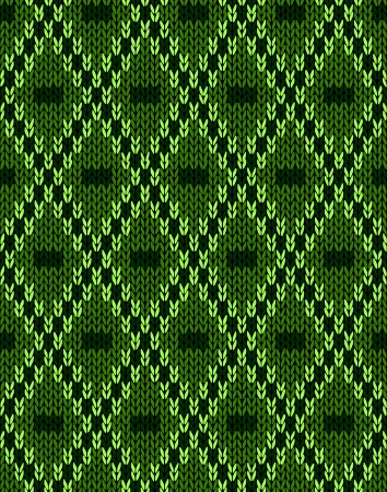 woolen: Knit woolen seamless jacquard ornament texture. Fabric Dark Green color tracery background