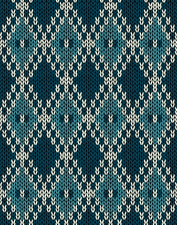 Knit Woolen Seamless Jacquard Ornament Pattern  Fabric Dark Blue Color Tracery Background Vector