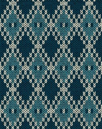 woolen fabric: Tejido de lana Jacquard Ornamento sin fisuras Patr�n Tela Azul oscuro Color de fondo Tracery