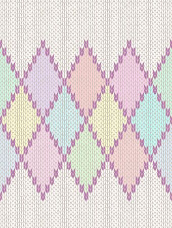rhombus: Seamless Pattern. Knit Woolen Baby Ornament Texture. Fabric Color Tracery Background