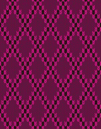 woolen: Style Knit woolen seamless jacquard ornament texture. Fabric Pink Color Tracery Background