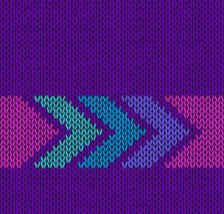 Style Seamless Violet with Blue Green Pink Arrow Knitted Vector Pattern Vector