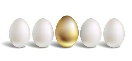 unique concept: Gold Vector Egg Concept. White and unique golden eggs Illustration