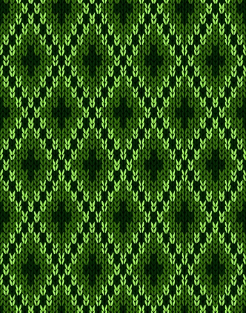 woolen: Style Knit woolen seamless jacquard ornament texture. Fabric Dark Green color tracery background