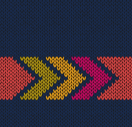 wool texture: Style Seamless Blue with Red Orange Yellow Arrow Color Knitted Vector Pattern