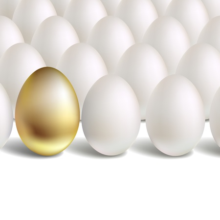 chosen one: Gold Egg Concept. White and unique golden eggs