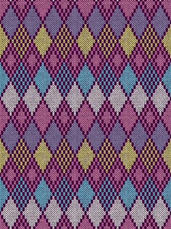 Style Seamless Knitted Pattern.Blue Pink Yellow Color Illustration from my large Collection of Samples of knitted Fabrics Ilustração