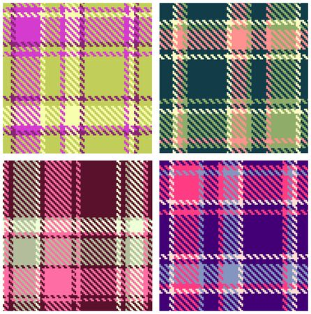 plaid pattern: Set of Seamless Checkered Plaid Pattern