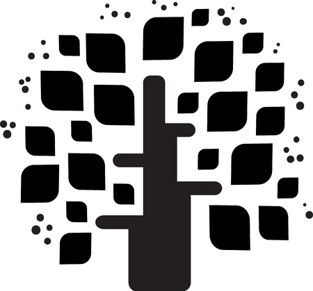 square root: Stylized black tree  Illustration