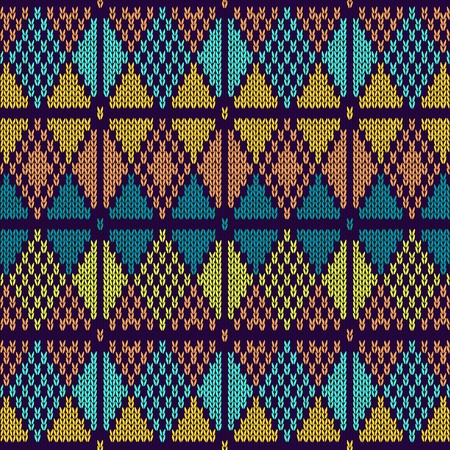 rhombus: Style Seamless Knitted Pattern Blue Orange Yellow Color Illustration from my large Collection of Samples of knitted Fabrics