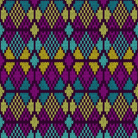 Style Seamless Knitted Pattern Blue Purple Yellow Color Illustration from my large Collection of Samples of knitted Fabrics
