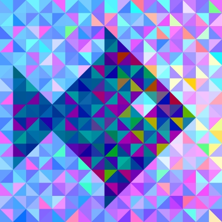 Abstract Vector Geometric Color Background with Stylised Fish Vector
