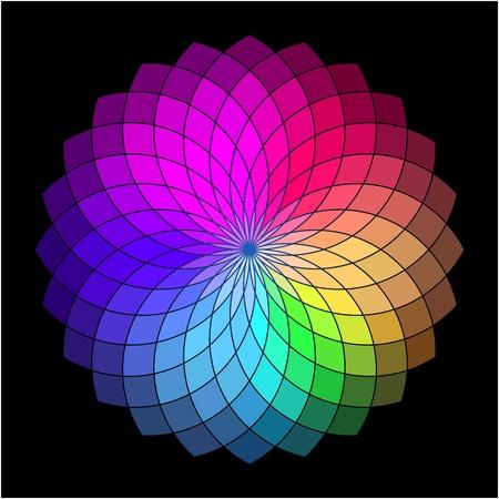 Rainbow style wheel  Color Creative Abstract Flower Vector
