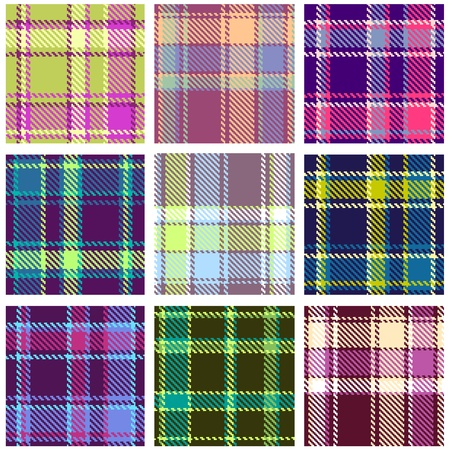 yellow fleece: Set of Seamless Checkered Vector Plaid Pattern