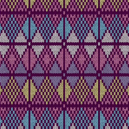 Style Seamless Knitted Pattern.Blue Pink Yellow Color Illustration Vector