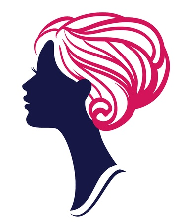 Beautiful womanl silhouette with stylish hairstyle  Vector