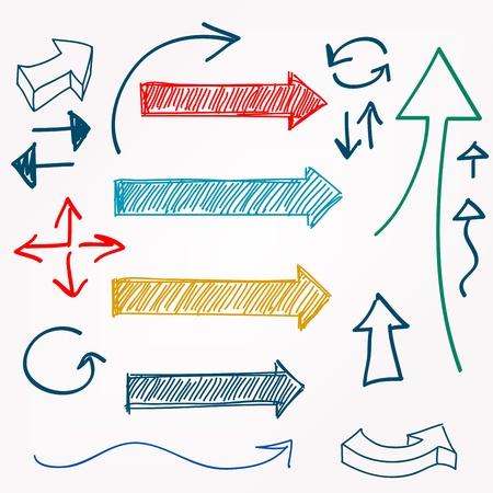 Arrow color sketchy design elements set illustration  Vettoriali