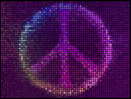 peace design: Peace Sign Multicolor abstract lights background. Square pixel mosaic  Illustration