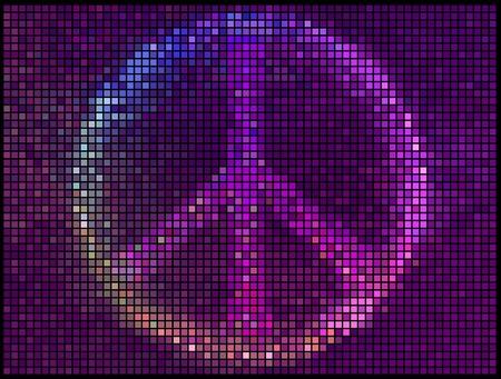 simbolo de la paz: Signo de la paz multicolor resumen luces de fondo. Mosaico de píxeles cuadrados