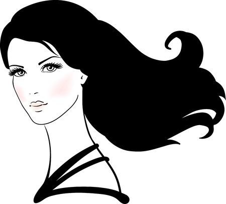 Beautiful young woman with long black hair  Vector