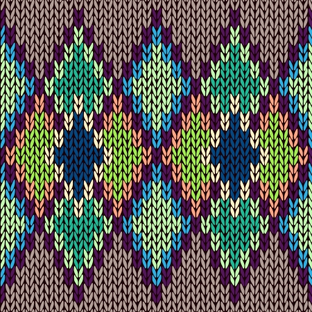 Seamless color knitted ornament pattern Vector
