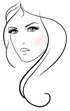 Beautiful young woman with long blond hair Vector