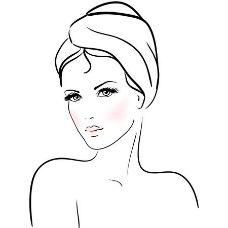 Schöne junge Frau mit Handtuch