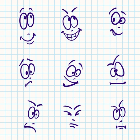 angry cartoon: Emotion, vector set of nine face on notebook paper