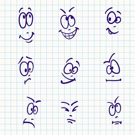 boy smiling: Emotion, vector set of nine face on notebook paper