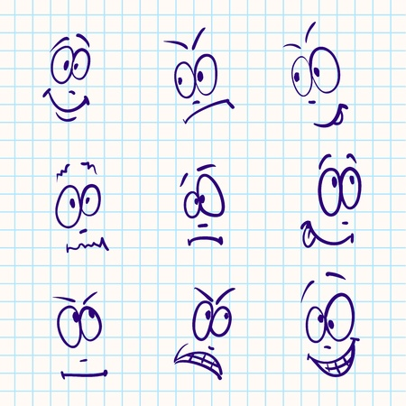 physiognomy: Emotion, vector set of nine face on notebook paper