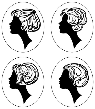set of four beautiful woman silhouette with stylish hairstyle vector illustration Vector
