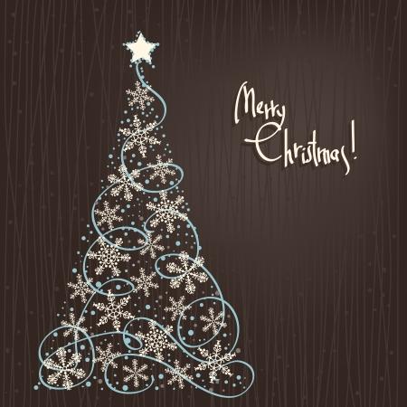 Vector abstracte winter achtergrond met Sterren Kerstboom Stock Illustratie