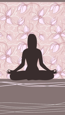 Yoga Card with Meditating Woman and Floral Background Vector