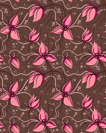 pink orchid: Seamless pattern pink orchid flowers