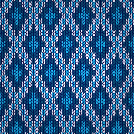Seamless Blue Knitted Pattern Stock Vector - 22086668