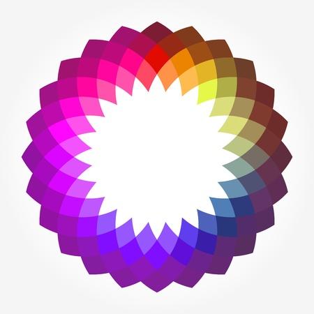 デジタル創造的な抽象花テキストのラウンド フレーム